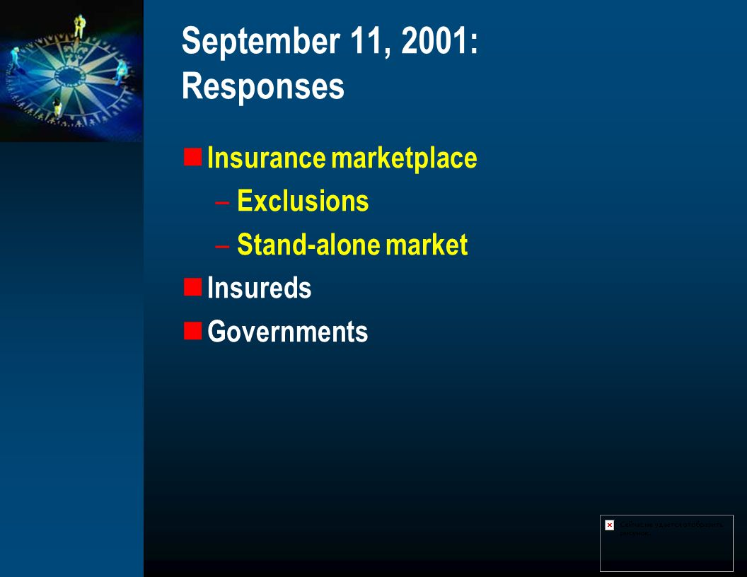 September 11, 2001: Responses Insurance marketplace – Exclusions – Stand-alone market Insureds Governments