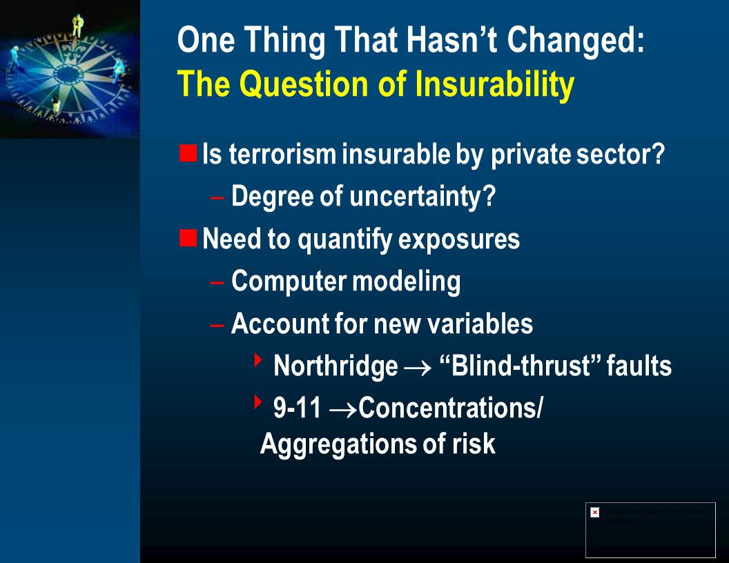 One Thing That Hasnt Changed: The Question of Insurability Is terrorism insurable by private sector.