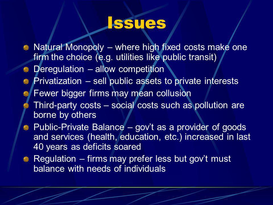 Issues Natural Monopoly – where high fixed costs make one firm the choice (e.g.
