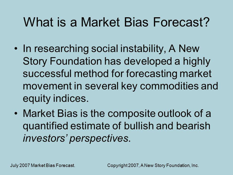 Market Bias Using a symbol set to represent the collective mood of bullish traders, a story is compiled for the market movement from that perspective.