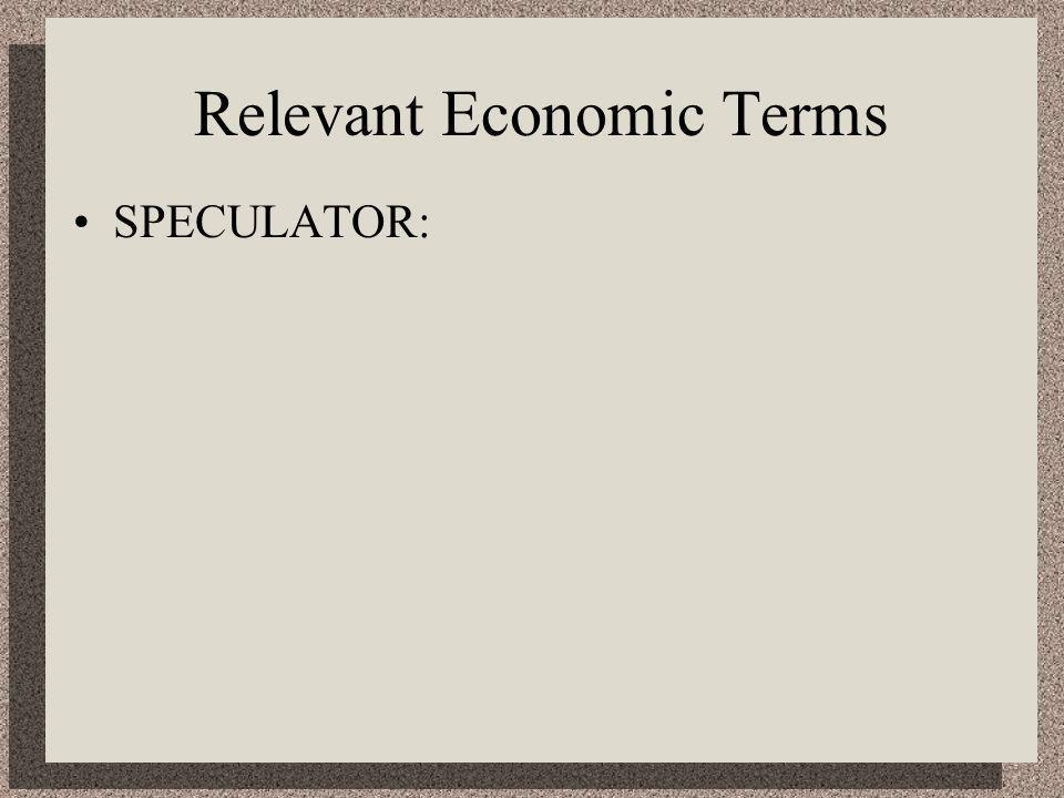 Relevant Economic Terms SPECULATOR: