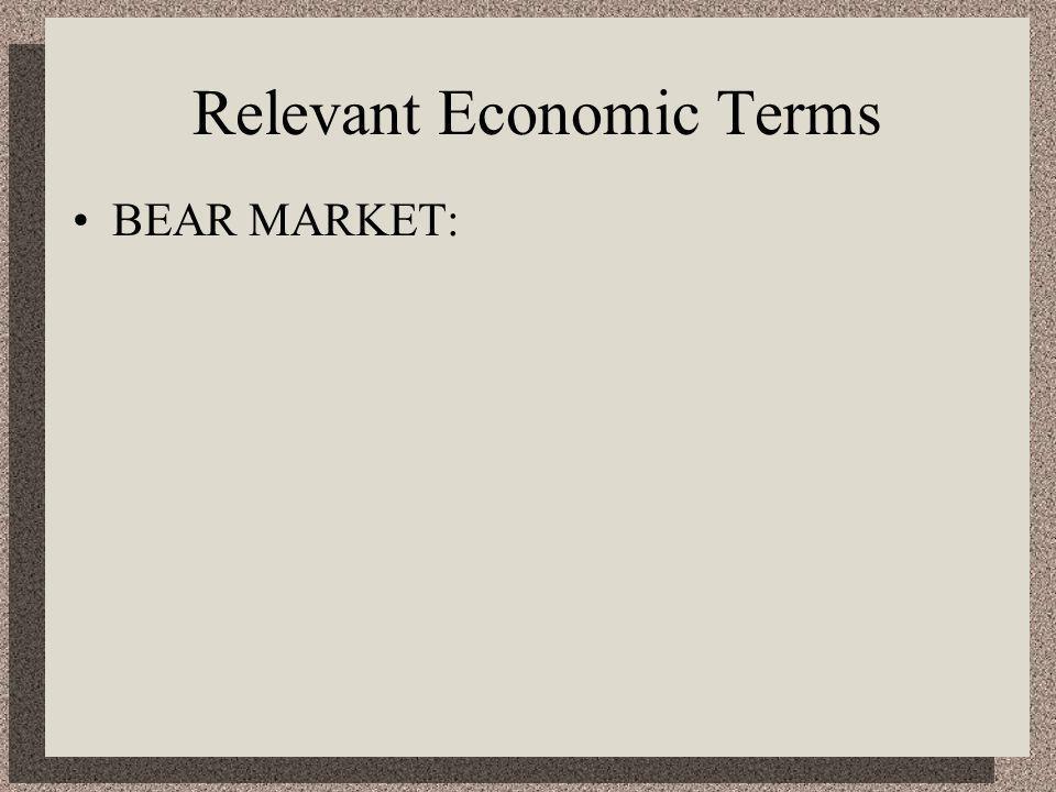 Relevant Economic Terms BEAR MARKET: