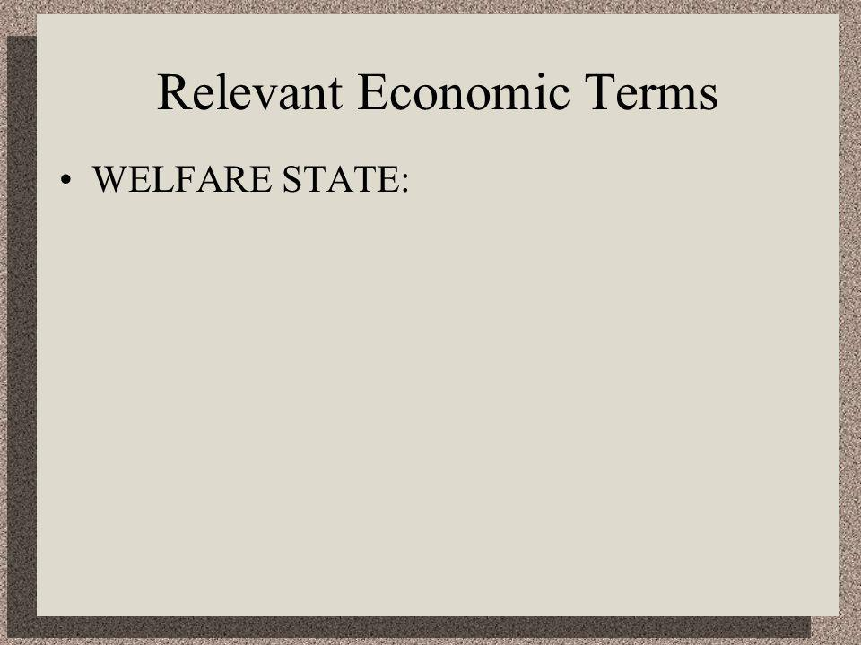 Relevant Economic Terms WELFARE STATE: