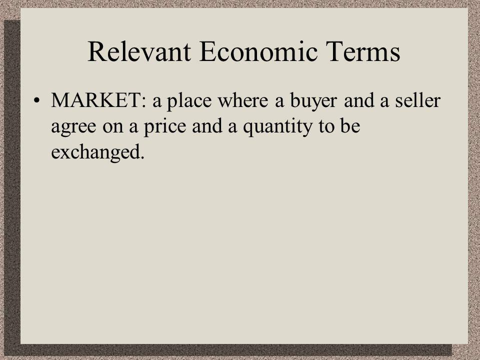 Relevant Economic Terms MARKET: a place where a buyer and a seller agree on a price and a quantity to be exchanged.