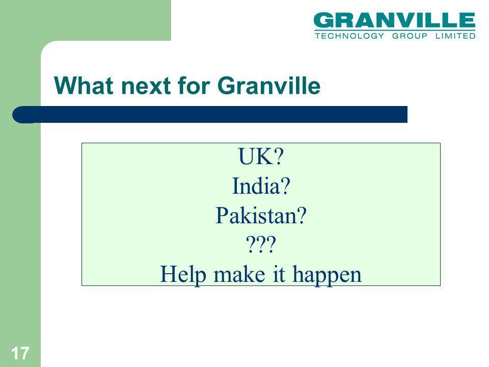 17 UK? India? Pakistan? ??? Help make it happen What next for Granville