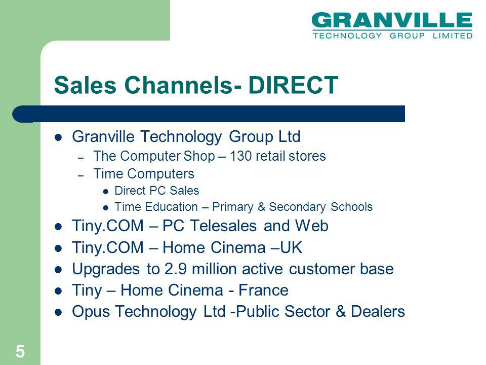 6 Sales Channels - INDIRECT UK RETAIL ( PCs and TV) – TIME Distribution Ltd- UK Retailers e.g.