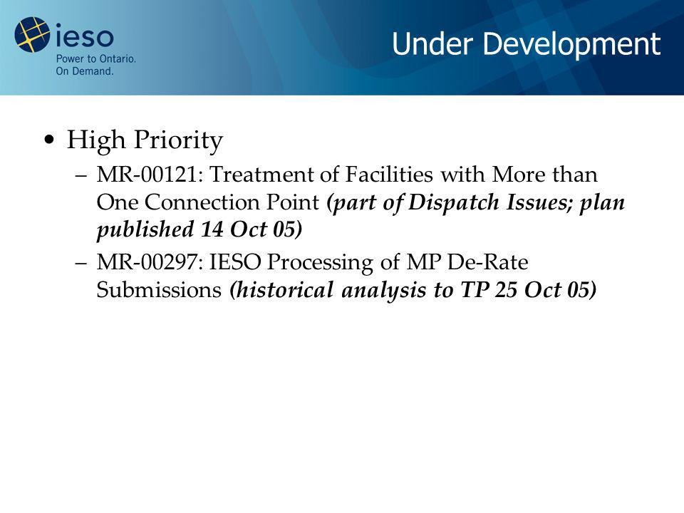 Under Development High Priority –MR-00121: Treatment of Facilities with More than One Connection Point (part of Dispatch Issues; plan published 14 Oct 05) –MR-00297: IESO Processing of MP De-Rate Submissions (historical analysis to TP 25 Oct 05)