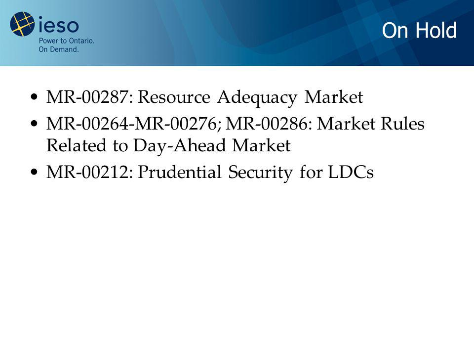 On Hold MR-00287: Resource Adequacy Market MR-00264-MR-00276; MR-00286: Market Rules Related to Day-Ahead Market MR-00212: Prudential Security for LDCs
