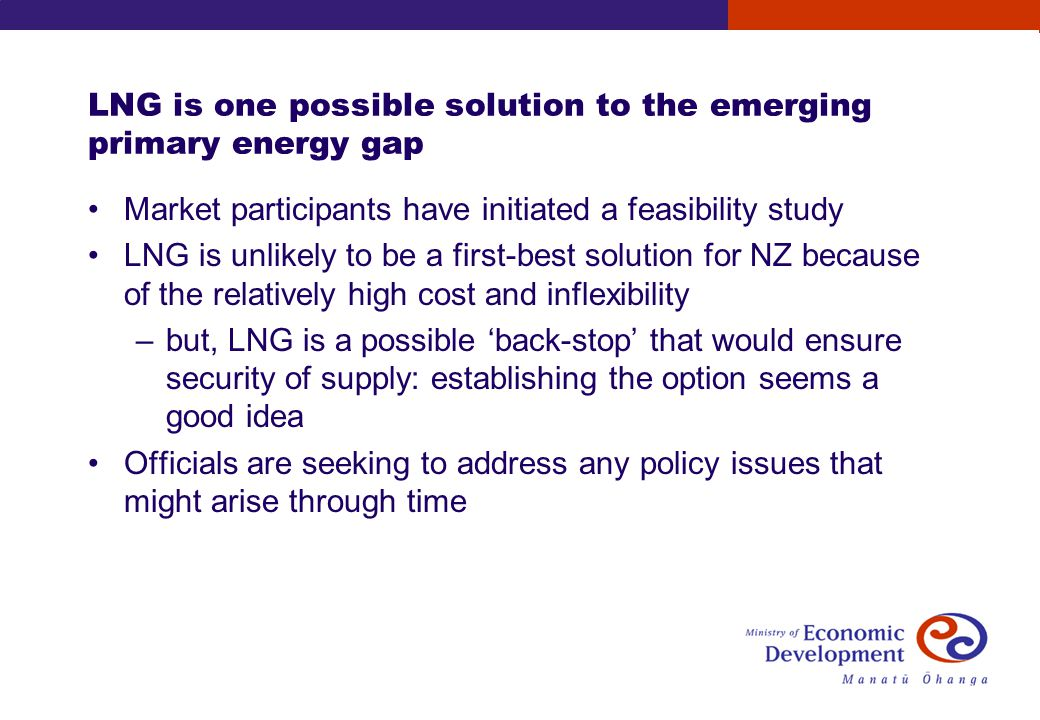 LNG is one possible solution to the emerging primary energy gap Market participants have initiated a feasibility study LNG is unlikely to be a first-best solution for NZ because of the relatively high cost and inflexibility –but, LNG is a possible back-stop that would ensure security of supply: establishing the option seems a good idea Officials are seeking to address any policy issues that might arise through time