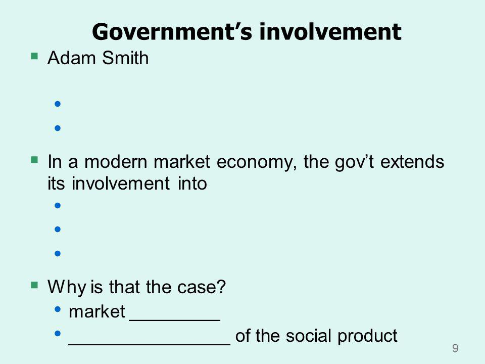 9 Governments involvement Adam Smith In a modern market economy, the govt extends its involvement into Why is that the case.