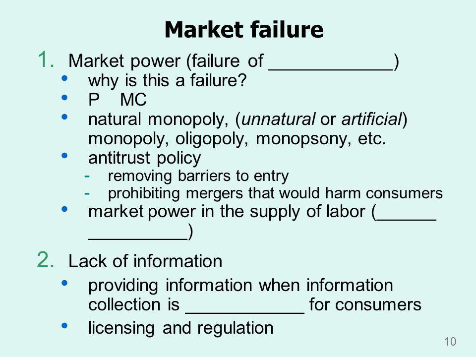 10 Market failure 1.Market power (failure of ____________) why is this a failure.