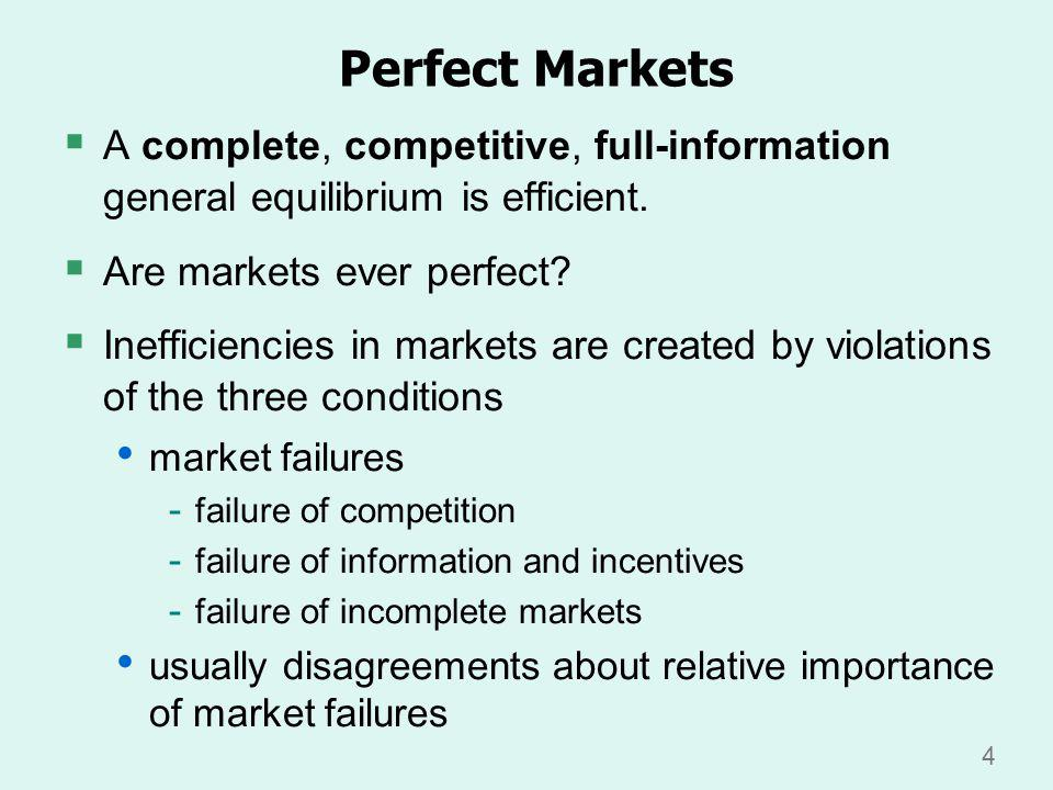 4 Perfect Markets A complete, competitive, full-information general equilibrium is efficient.