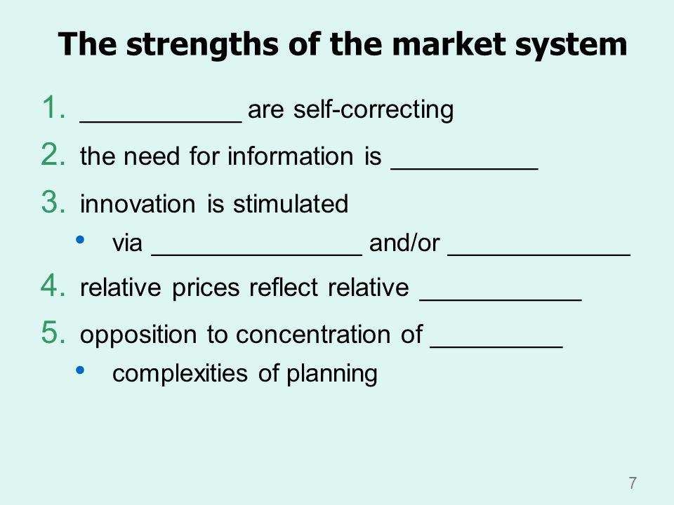 7 The strengths of the market system 1. ___________ are self-correcting 2.
