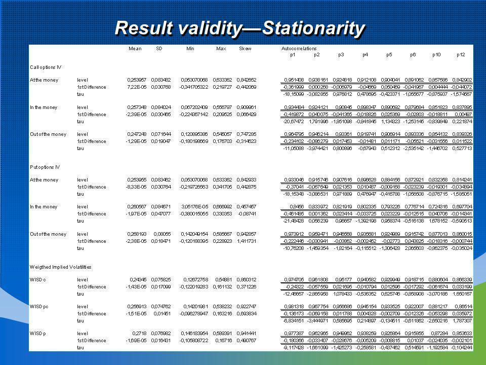Result validityStationarity