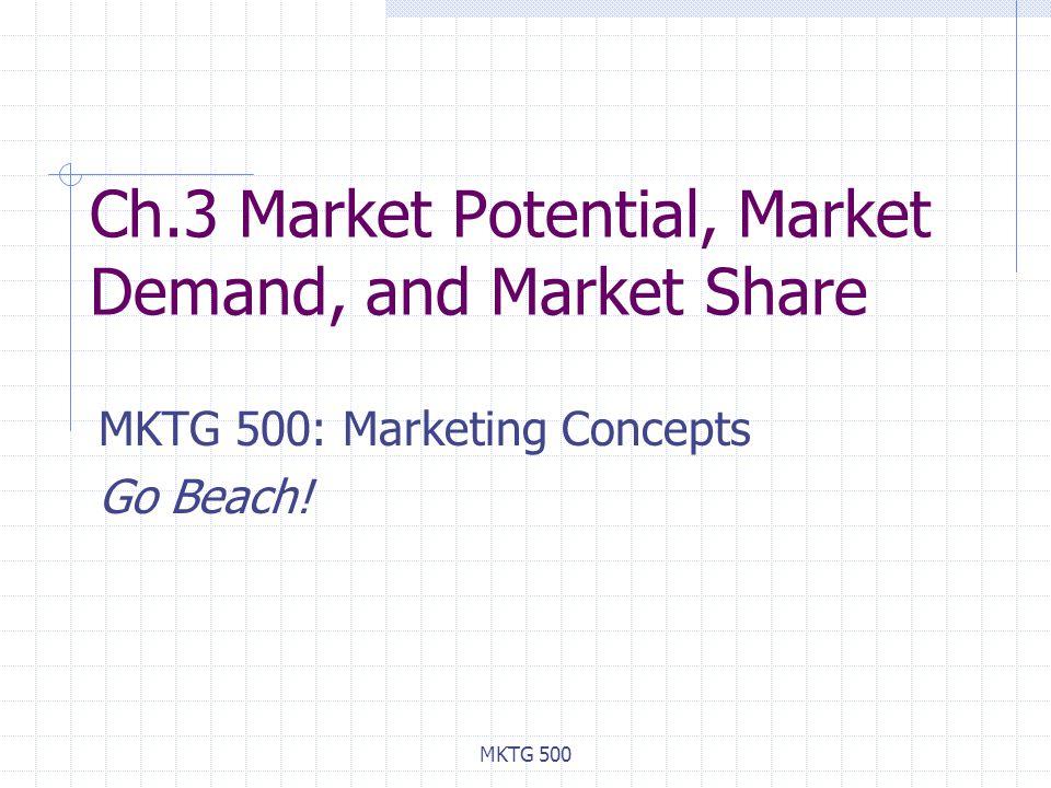 MKTG 500 Ch.3 Market Potential, Market Demand, and Market Share MKTG 500: Marketing Concepts Go Beach!