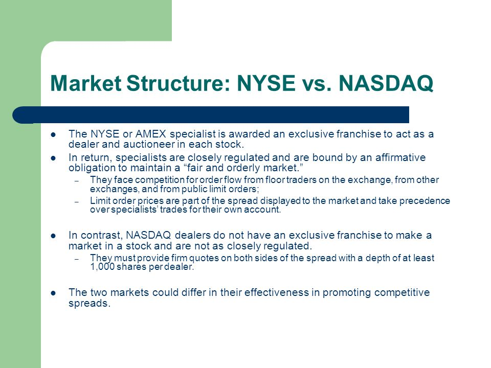 Market Structure: NYSE vs. NASDAQ The NYSE or AMEX specialist is awarded an exclusive franchise to act as a dealer and auctioneer in each stock. In re