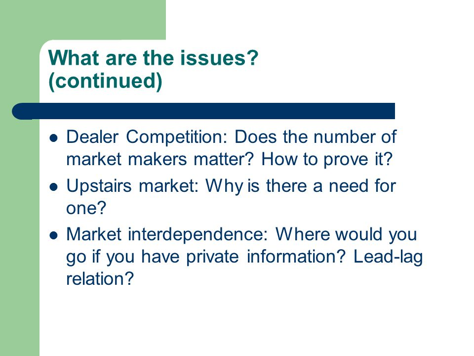 A Field Exam Question Many studies have examined whether trade location matters in pricing securities.