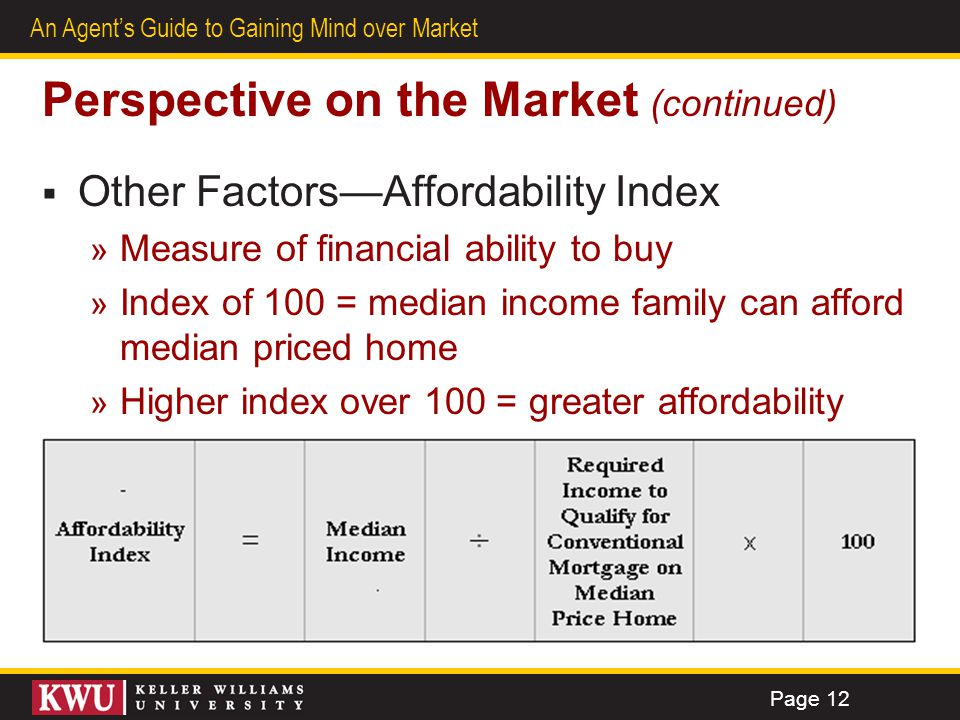 7 An Agents Guide to Gaining Mind over Market Perspective on the Market (continued) Other FactorsAffordability Index » Measure of financial ability to