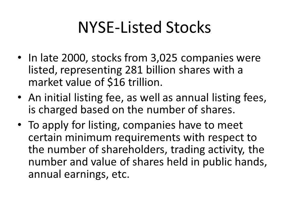 NYSE-Listed Stocks In late 2000, stocks from 3,025 companies were listed, representing 281 billion shares with a market value of $16 trillion. An init
