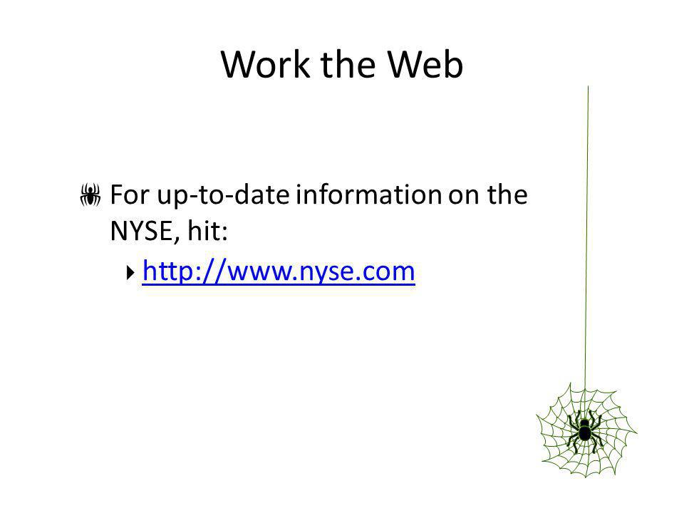 Work the Web For up-to-date information on the NYSE, hit: http://www.nyse.com