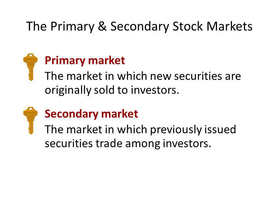 The Primary & Secondary Stock Markets Primary market The market in which new securities are originally sold to investors. Secondary market The market