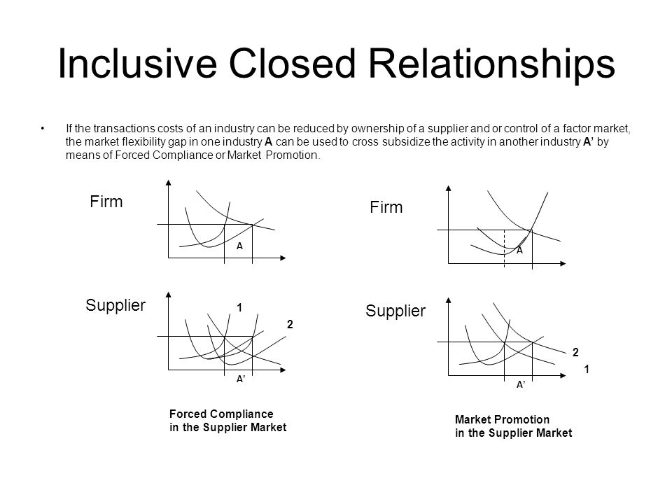 Inclusive Closed Relationships If the transactions costs of an industry can be reduced by ownership of a supplier and or control of a factor market, the market flexibility gap in one industry A can be used to cross subsidize the activity in another industry A by means of Forced Compliance or Market Promotion.