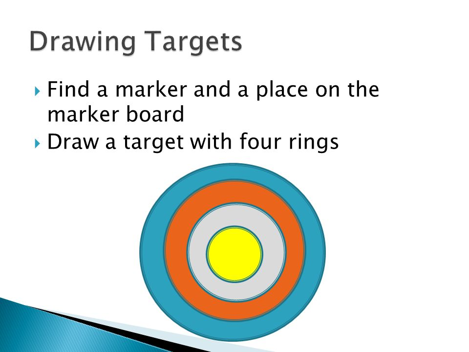 Find a marker and a place on the marker board Draw a target with four rings