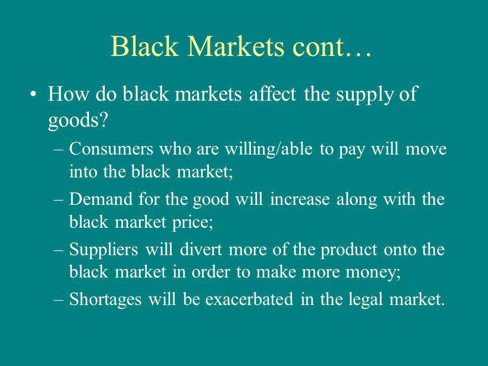 Black Markets cont… How do black markets affect the supply of goods? –Consumers who are willing/able to pay will move into the black market; –Demand f