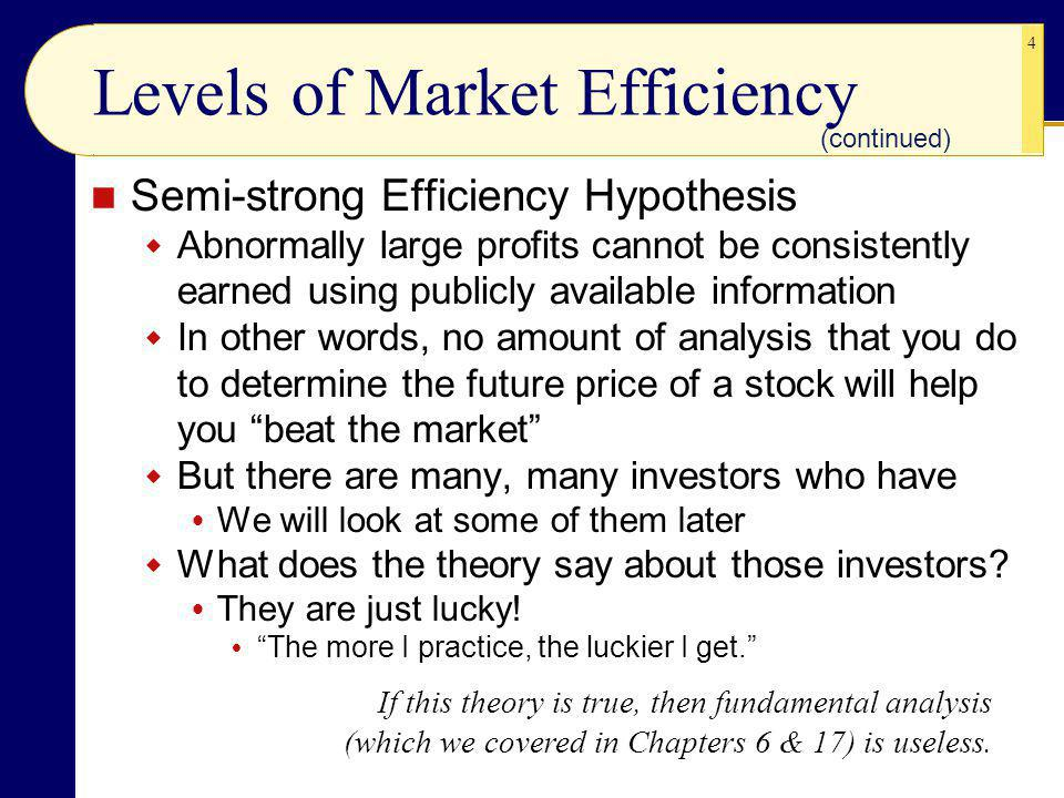 4 Levels of Market Efficiency Semi-strong Efficiency Hypothesis Abnormally large profits cannot be consistently earned using publicly available information In other words, no amount of analysis that you do to determine the future price of a stock will help you beat the market But there are many, many investors who have We will look at some of them later What does the theory say about those investors.
