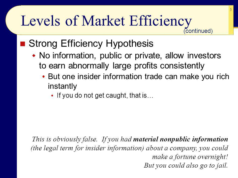 5 Levels of Market Efficiency Strong Efficiency Hypothesis No information, public or private, allow investors to earn abnormally large profits consistently But one insider information trade can make you rich instantly If you do not get caught, that is… (continued) This is obviously false.