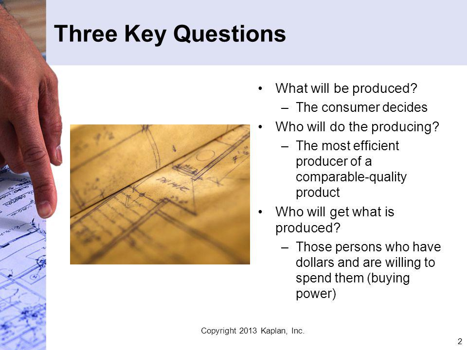 2 Three Key Questions What will be produced. –The consumer decides Who will do the producing.