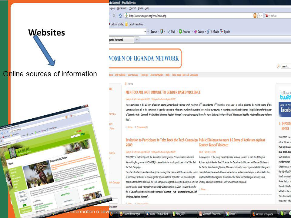 Websites 12 Online sources of information