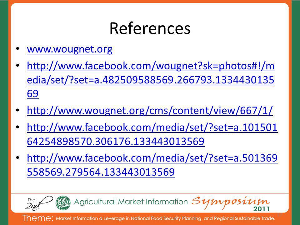 References www.wougnet.org http://www.facebook.com/wougnet?sk=photos#!/m edia/set/?set=a.482509588569.266793.1334430135 69 http://www.facebook.com/wougnet?sk=photos#!/m edia/set/?set=a.482509588569.266793.1334430135 69 http://www.wougnet.org/cms/content/view/667/1/ http://www.facebook.com/media/set/?set=a.101501 64254898570.306176.133443013569 http://www.facebook.com/media/set/?set=a.101501 64254898570.306176.133443013569 http://www.facebook.com/media/set/?set=a.501369 558569.279564.133443013569 http://www.facebook.com/media/set/?set=a.501369 558569.279564.133443013569 17