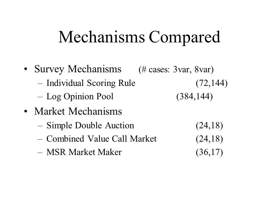 Mechanisms Compared Survey Mechanisms (# cases: 3var, 8var) –Individual Scoring Rule (72,144) –Log Opinion Pool (384,144) Market Mechanisms –Simple Double Auction (24,18) –Combined Value Call Market (24,18) –MSR Market Maker (36,17)