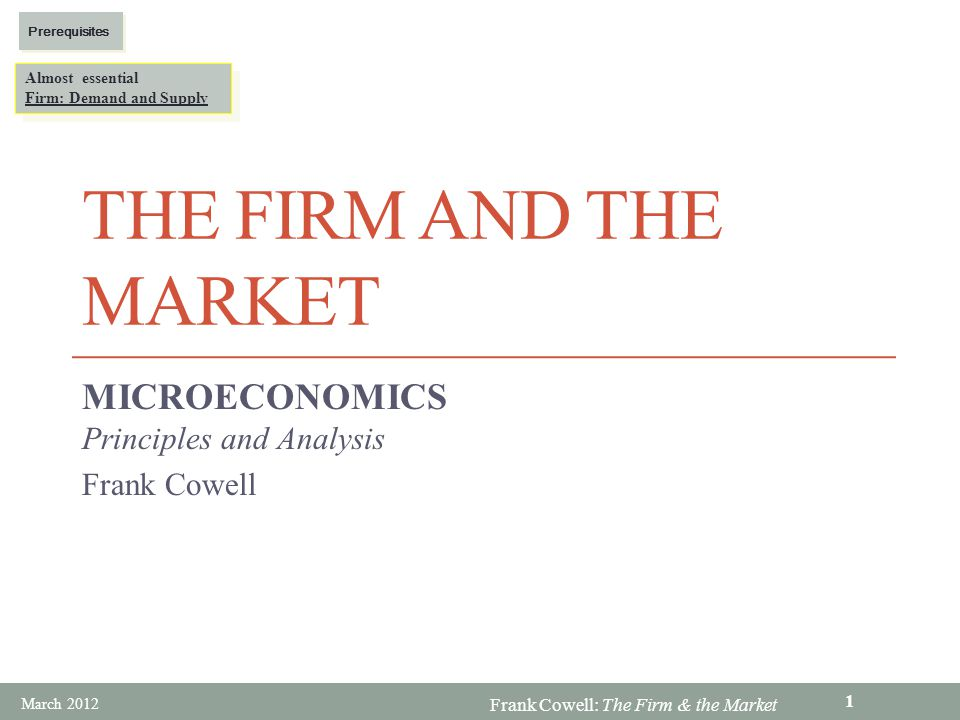 Frank Cowell: The Firm & the Market Monopoly – model structure We are given the inverse demand function: p = p(q) Gives the price that rules if the monopolist delivers q to the market For obvious reasons, consider it as the average revenue curve (AR) Total revenue is: p(q)q Differentiate to get monopolists marginal revenue (MR): p(q)+p q (q)q p q ( ) means dp( )/dq Clearly, if p q (q) is negative (demand curve is downward sloping), then MR < AR March 2012 32
