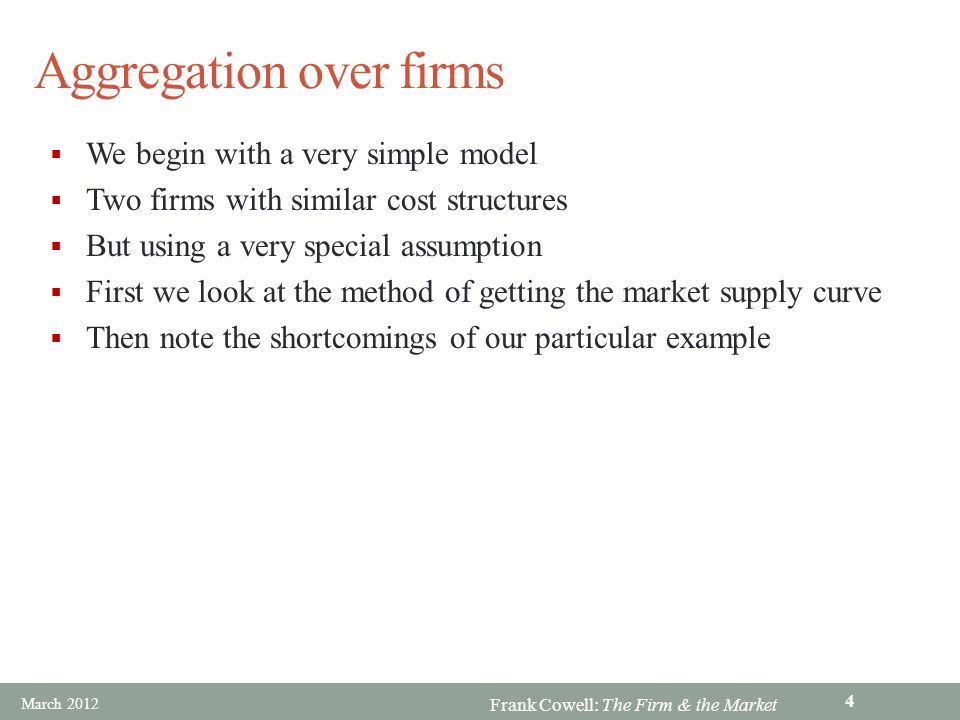 Frank Cowell: The Firm & the Market Aggregation over firms We begin with a very simple model Two firms with similar cost structures But using a very s