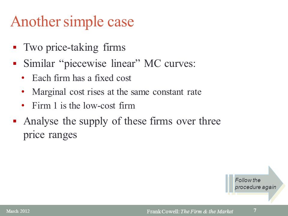 Frank Cowell: The Firm & the Market Overview… Market supply curve Size of the industry Price-setting Product variety The Firm and the Market Introducing externalities Basic aggregation Large numbers Interaction amongst firms March 2012 18