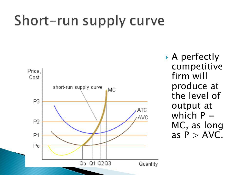 A perfectly competitive firm will produce at the level of output at which P = MC, as long as P > AVC.