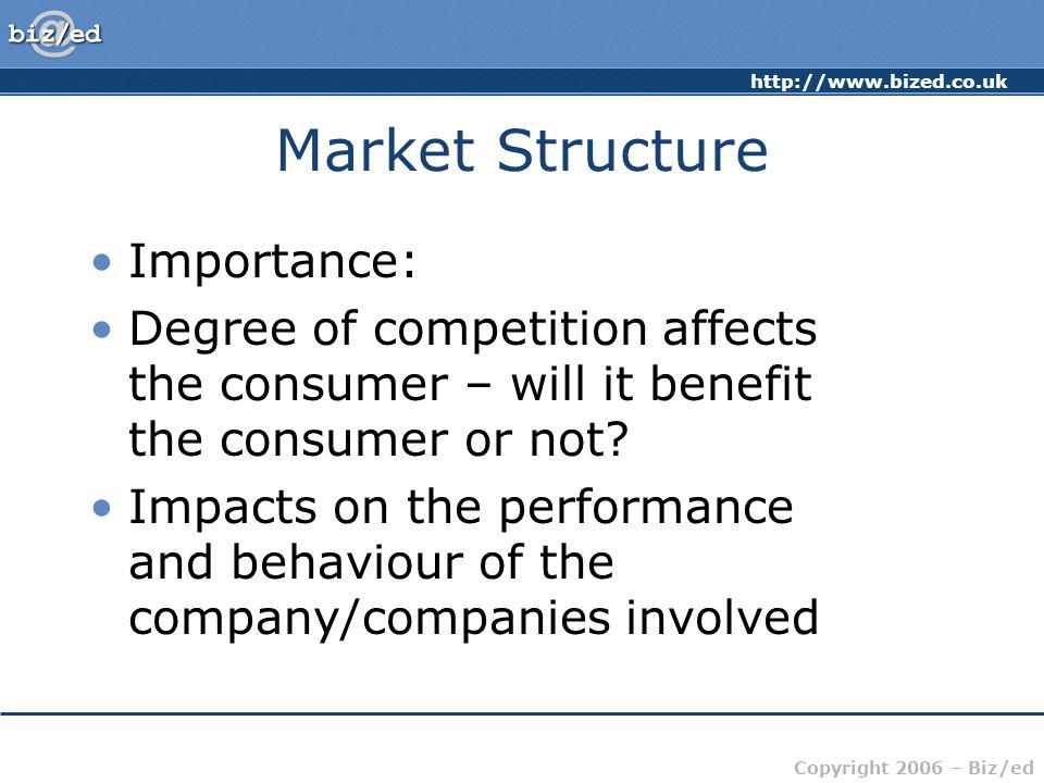 http://www.bized.co.uk Copyright 2006 – Biz/ed Market Structure Importance: Degree of competition affects the consumer – will it benefit the consumer