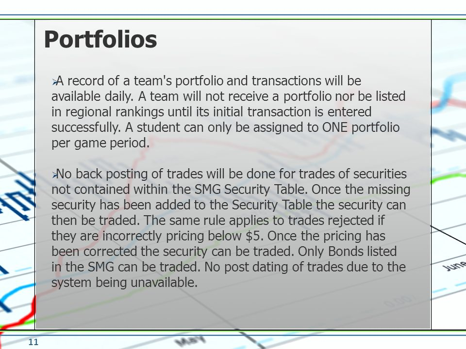 A record of a team s portfolio and transactions will be available daily.
