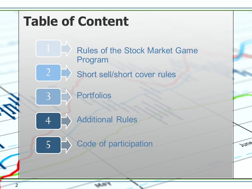 Table of Content 1234 Short sell/short cover rules Portfolios Additional Rules 5 Code of participation Rules of the Stock Market Game Program 2