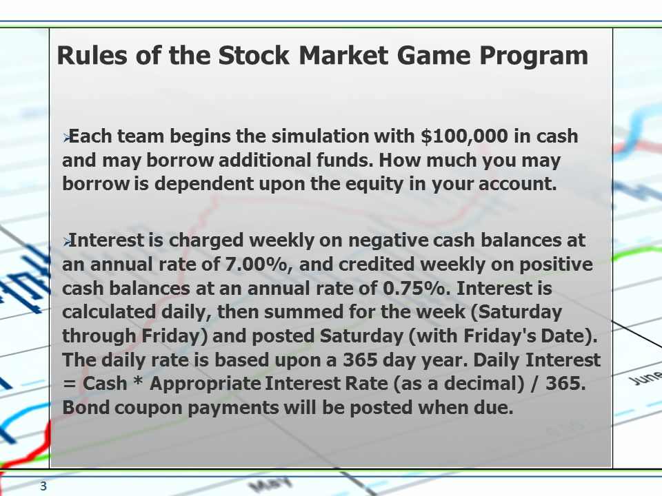 Each team begins the simulation with $100,000 in cash and may borrow additional funds. How much you may borrow is dependent upon the equity in your ac