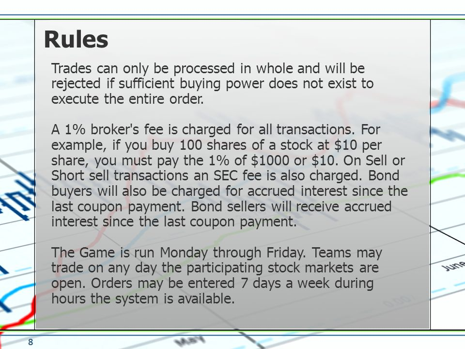 Trades can only be processed in whole and will be rejected if sufficient buying power does not exist to execute the entire order. A 1% broker's fee is