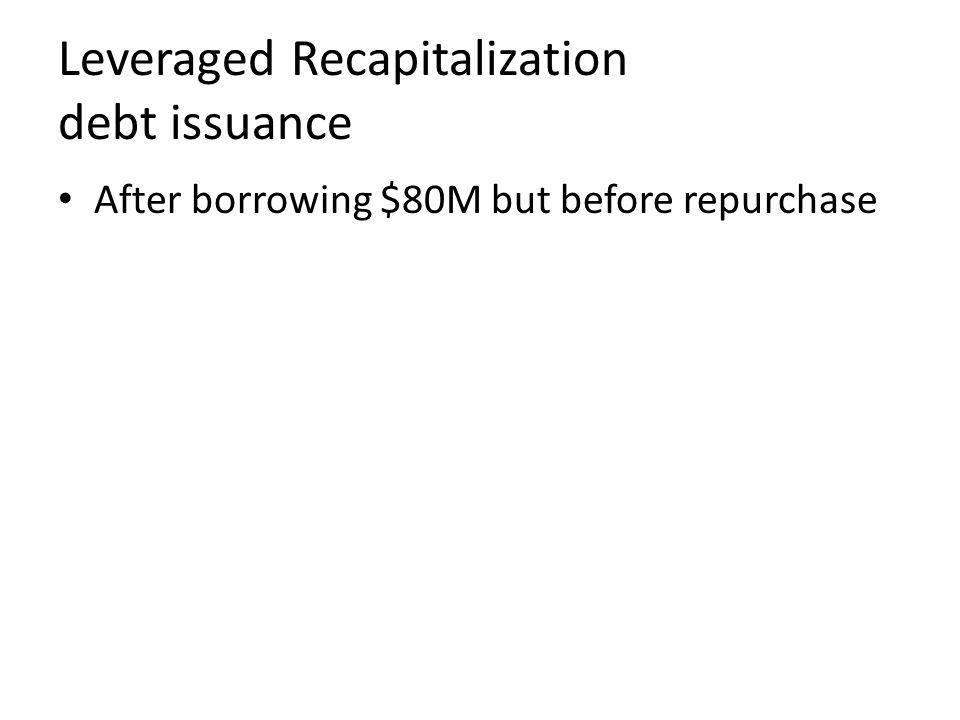 Leveraged Recapitalization debt issuance After borrowing $80M but before repurchase