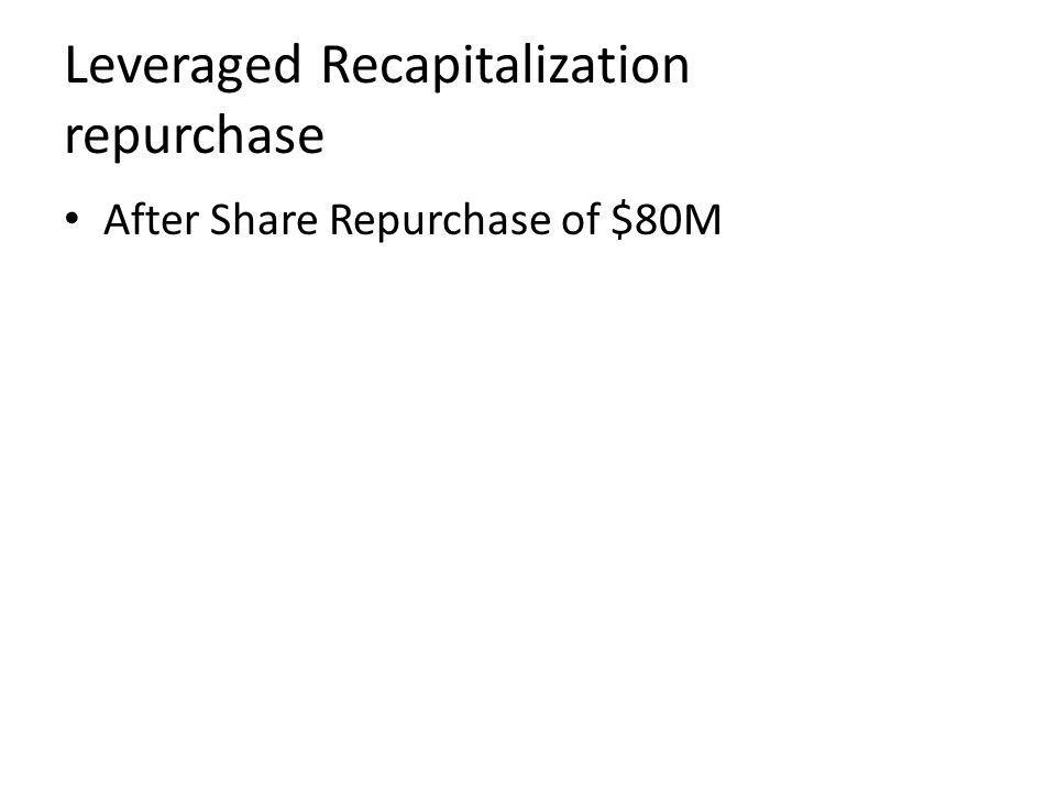 Leveraged Recapitalization repurchase After Share Repurchase of $80M