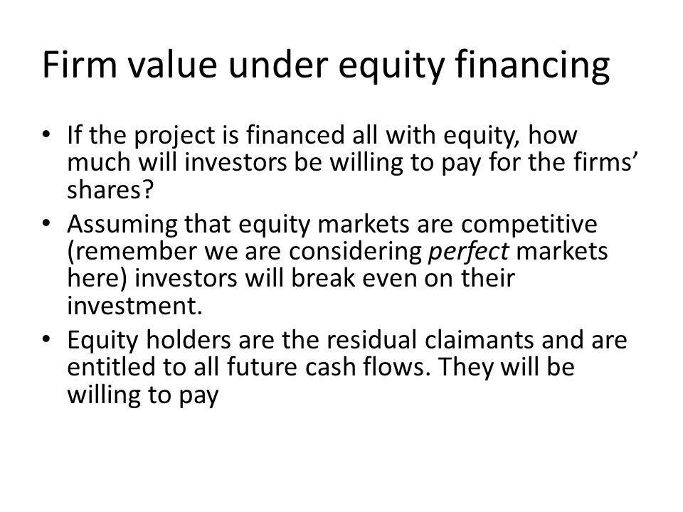 Firm value under equity financing If the project is financed all with equity, how much will investors be willing to pay for the firms shares.