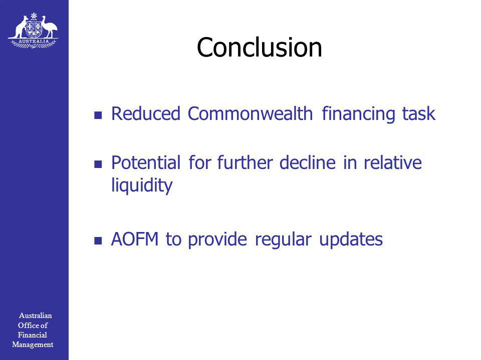 Australian Office of Financial Management Conclusion Reduced Commonwealth financing task Potential for further decline in relative liquidity AOFM to provide regular updates