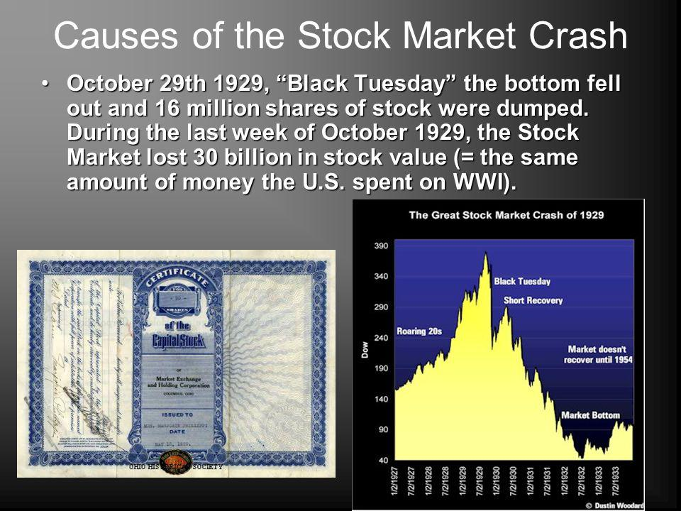 Causes of the Stock Market Crash October 29th 1929, Black Tuesday the bottom fell out and 16 million shares of stock were dumped. During the last week