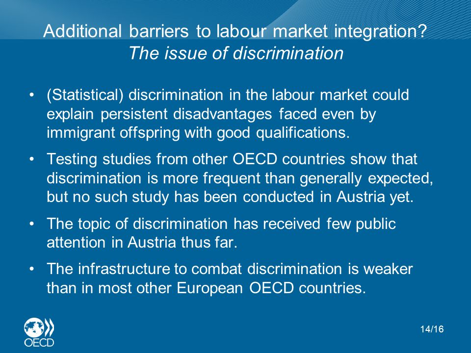 Additional barriers to labour market integration.