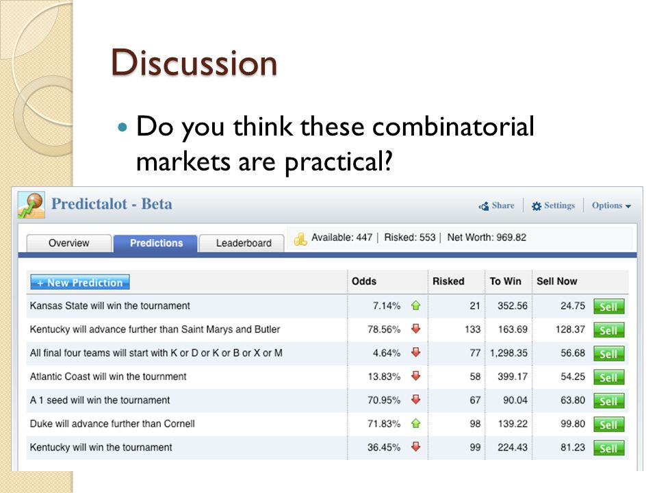 Discussion Do you think these combinatorial markets are practical?